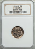 Buffalo Nickels: , 1928-D 5C MS65 NGC. NGC Census: (133/7). PCGS Population: (416/60). CDN: $425 Whsle. Bid for problem-free NGC/PCGS MS65. Mi...