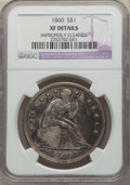 Seated Dollars: , 1860 $1 -- Improperly Cleaned -- NGC Details. XF. NGC Census: (4/109). PCGS Population: (19/177). CDN: $700 Whsle. Bid for ...