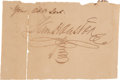 Autographs:Statesmen, Sam Houston: Signed Partial Document....
