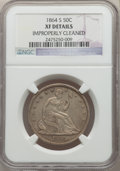 Seated Half Dollars: , 1864-S 50C -- Improperly Cleaned -- NGC Details. XF. NGC Census: (8/39). PCGS Population: (30/78). CDN: $350 Whsle. Bid for...