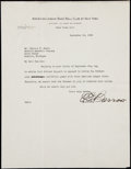 Autographs:Letters, 1935 Ed Barrow Signed Letter on New York Yankees Letterhead....