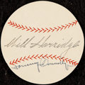 Autographs:Index Cards, 1950s Will Harridge & Tom Connolly Signed Baseball Cut....