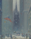 Fine Art - Painting, American, Johann Berthelsen (American, 1883-1972). Wall Street (TrinityChurch). Oil on canvasboard. 10 x 8 inches (25.4 x 20.3 cm...