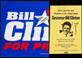 Autographs:Others, Hilary & President Bill Clinton Signed Ephemera Lot of 2....