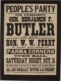 Political:Posters & Broadsides (1896-present), Benjamin F. Butler: Large People's Party Broadside from 1884. ...