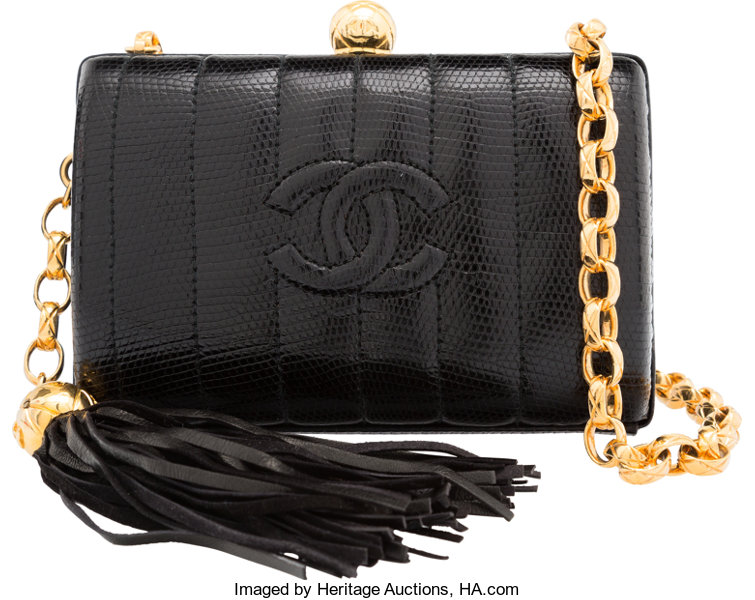 344cc713a825 Luxury Accessories:Bags, Chanel Black Lizard Mini Evening Clutch Bag with  Gold Hardware.