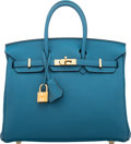 """Luxury Accessories:Bags, Hermes 25cm Blue Cobalt Togo Leather Birkin Bag with Gold Hardware. X, 2016. Condition: 2. 9.5"""" Width x 8"""" Height ..."""
