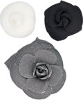 ":Accessories, Chanel Set of 3: Camellia Pins. Condition: 2. 3.5"" Diameter. 2"" Diameter. ... (Total: 3 )"