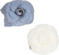 ":Accessories, Chanel Set of 2: White Wool & Blue Chambray Camellia Pins. Condition 2. 3.5"" Diameter. ... (Total: 2 )"
