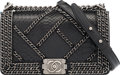 """Luxury Accessories:Bags, Chanel Black Python Enchanted Chain Medium Boy Bag with Ruthenium Hardware. Condition: 2. 10"""" Width x 6"""" Height x 3.5""""..."""