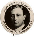 Political:Pinback Buttons (1896-present), Franklin D. Roosevelt: Vice Presidential Real Photo Picture Pin....