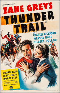 """Thunder Trail (Paramount, 1937). Fine on Linen. Trimmed One Sheet (25.75"""" X 41""""). Western"""