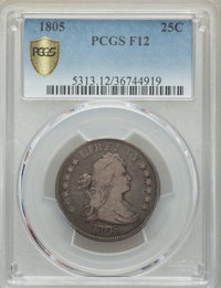 1805 25C Fine 12 PCGS. PCGS Population: (73/292 and 0/4+). NGC Census: (19/129 and 0/1+). Fine 12. Mintage 121,394. Fr...
