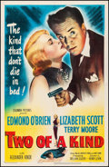 """Movie Posters:Crime, Two of a Kind (Columbia, 1951). Fine/Very Fine on Linen. One Sheet (27"""" X 41""""). Crime. From the Collection of Frank Buxton..."""
