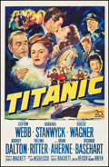 """Movie Posters:Drama, Titanic (20th Century Fox, 1953). Fine/Very Fine on Linen. OneSheet (27"""" X 41""""). Drama. From the Collection of FrankBuxt..."""