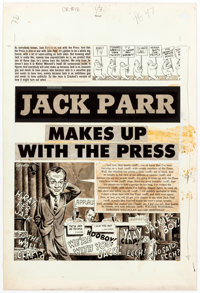 """John Severin Cracked #18 Complete Three Page Story, """"Jack Parr (sic) Makes Up with the Press"""" Original... (Tot..."""