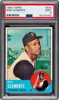 Baseball Cards:Singles (1960-1969), 1963 Topps Roberto Clemente #540 PSA Mint 9 - Only Two Higher....