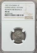 Colombia, Colombia: Republic copper-nickel Pattern 2 Pesos 1907-AM MS66NGC,...
