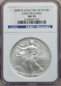 Modern Bullion Coins, 2008-W $1 Silver Eagle, Reverse of 2007, Early Releases, MS70 NGC. NGC Census: (3189). PCGS Population: (195). 70....