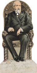 """Political:Small Paper (1896-present), William McKinley et al: Mechanical """"Presidential Chair"""" Hopeful Trade Card. ..."""