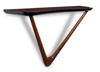 Vladimir Kagan (German/American, 1927-2016) Wall-Mounted Console Table, circa 1950 Walnut 29 x 46