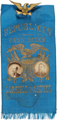 Political:Ribbons & Badges, Garfield & Arthur: Outstanding Gold-Stamped Jugate Ribbon....