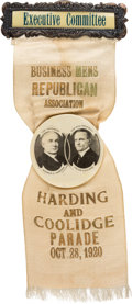 "Political:Pinback Buttons (1896-present), Harding & Coolidge: Spectacular 1920 Jugate Badge Rarity Sporting an 1 3/4"" Celluloid Button..."
