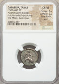 Ancients:Greek, Ancients: CALABRIA. Tarentum. Ca. 500-480 BC. AR stater or didrachm(19mm, 8.02 gm, 9h). NGC Choice VF 5/5 - 2/5, Fine Style, marks....