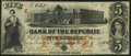 Obsoletes By State:Rhode Island, Providence, RI- Bank of the Republic $5 Sep. 1, 1855 Fine-Very Fine.. ...