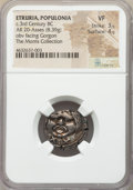 Ancients:Greek, Ancients: ETRURIA. Populonia. Ca. 3rd century BC. AR 20 asses(20mm, 8.39 gm). NGC VF 3/5 - 4/5....