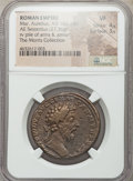 Ancients:Roman Imperial, Ancients: Marcus Aurelius, as Augustus (AD 161-180). AE sestertius(32mm, 27.36 gm, 6h). NGC VF 4/5 - 3/5....