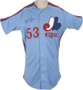 Baseball Collectibles:Uniforms, 1983 Charlie Lea Game Used and Signed Jersey. Charlie Lea was one of the Montreal Expos' top winners for the 1983 season, po...