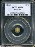 California Fractional Gold: , 1855/4 25C Liberty Octagonal 25 Cents, BG-106, R.3, MS63 PCGS. ...