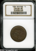 1856 1C Slanted 5 MS64 Brown NGC. N-14, R.1. Sharply defined in the centers with the usual softness around the peripheri...