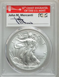 Modern Bullion Coins, 2016-W $1 Silver Eagle, Burnished, Lettered Edge, 30th Anniversary, First Strike, Mercanti Signature, SP70 PCGS. PCGS Popul...
