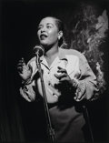 Photographs:Gelatin Silver, Herman Leonard (American, 1923-2010). Billie Holiday, New YorkCity, 1949. Gelatin silver, printed later. 16-1/4 x 12-1/...