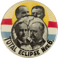 """Bryan & Stevenson and McKinley & Roosevelt: The Iconic Jugate Eclipse 1 1/4"""" Button"""