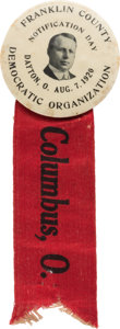 "Political:Ribbons & Badges, James M. Cox: Dramatic, Rare 2 1/4"" ""Notification Day"" Button...."
