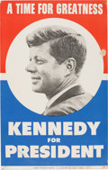 "Political:Posters & Broadsides (1896-present), John F. Kennedy: ""Time For Greatness"" Cardboard Placard...."