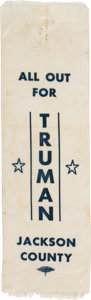 Political:Ribbons & Badges, Harry S Truman: Most Unusual Campaign Silk Ribbon From His Home of Jackson County, MO....