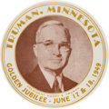 Political:Posters & Broadsides (1896-present), Harry S Truman: Very Scarce Minnesota One-Day Event Button....