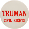 Political:Pinback Buttons (1896-present), Harry S Truman: Large Civil Rights Slogan Pin....