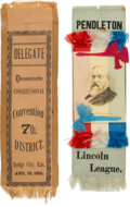 Political:Presidential Relics, Benjamin Harrison: 1892 Ribbon with Democratic Ribbon from Dodge City.... (Total: 2 Items)