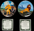 """Movie Posters:Animation, The Lion King (Bradford Exchange, 1994). Mint. Hand NumberedPorcelain Plates (2) (7.5"""" Diameter). Judy Barnes Design. Anima...(Total: 2 Items)"""
