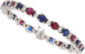 Estate Jewelry:Bracelets, Ruby, Sapphire, Diamond, White Gold Bracelet T...