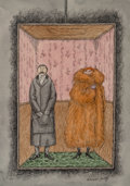 "Mainstream Illustration, Edward St. John Gorey (American, 1925-2000). ""Never Get on anElevator Alone with a Foreign Woman,"" T.V. Guide cartoon, ..."