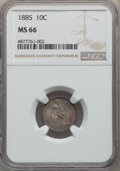 1885 10C MS66 NGC. NGC Census: (43/14). PCGS Population: (27/21). MS66. Mintage 2,532,497. ...(PCGS# 4694)