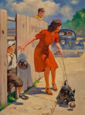 Mainstream Illustration, Raymond James Stuart (American, 20th Century). Car Approaching, 1939. Oil on canvas. 32 x 24 in.. Signed lower left. ...
