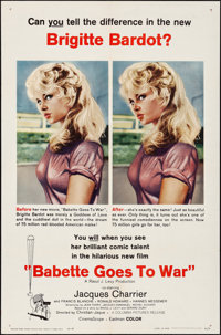"Babette Goes to War (Columbia, 1960). Folded, Very Fine+. One Sheet (27"" X 41""). Foreign"