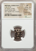 Ancients: BRITAIN. Corieltavi. Ca. 60-20 BC. AV stater (13mm, 3.54 gm). NGC XF 4/5 - 1/5, fragmentary